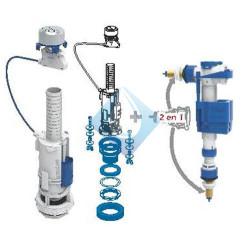 Mecanismo descargador cisterna DOBLE  pulsador + Grifo flotador lateral o inferior