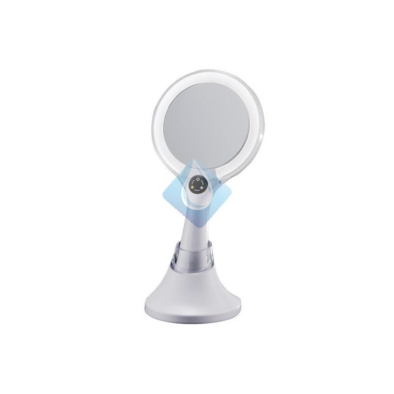 Espejo de mano con doble aumento y dos tipos de luz for Espejo aumento con luz
