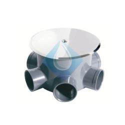 Bote sifónico en PVC con tapa de expansión y embellecedor inox. de 5 entradas de Ø40 y 1 salida de Ø50