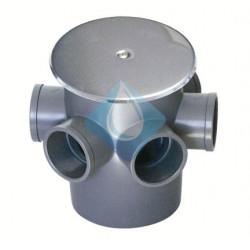 Bote sifónico en PVC con tapa de expansión y embellecedor inox. 5 entradas y salida de 50 Ø elevadas