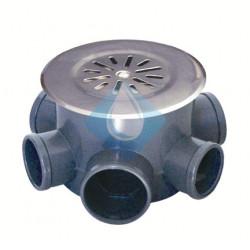 Bote sifónico en PVC con tapa sumidero y rejilla inox. 5 entradas de Ø40 y salida de Ø50