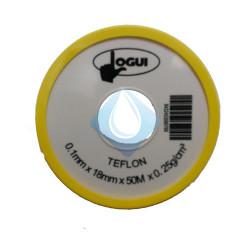 Cinta Rollo teflon 18mm  X 50 mt X 0.25 g/cm3
