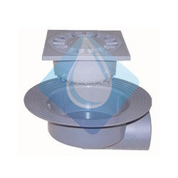 Sumidero sifónico caldereta para terrazas Salida lateral PVC  15 x 15 Riuvert