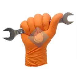 Guante Nitrilo tacto diamantado Color Naranja T-9