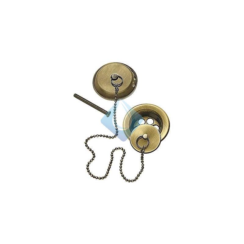 Conjunto de accesorios para banera o70 cadena de 420 mm con acabado laton viejo - Accesorios para baneras ...