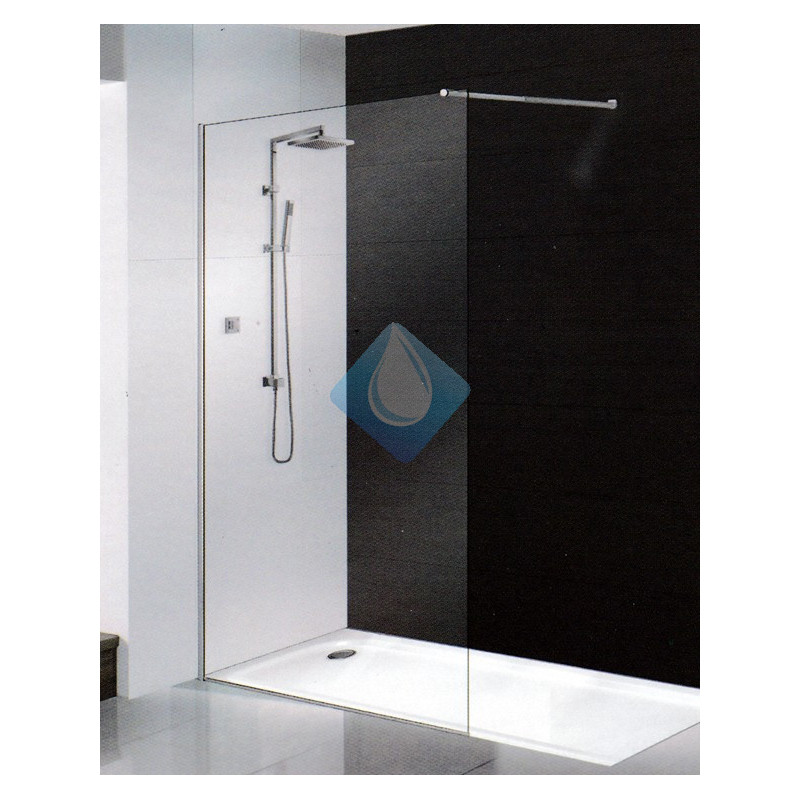 Mampara ducha cristal 80 cm sin perfil 6 mm for Mampara ducha sin perfil