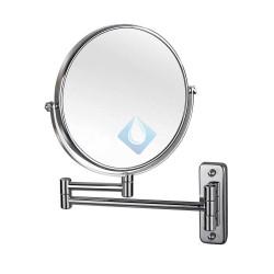 Espejo de aumento para lavabo latón cromado De doble cara, con visión normal y de 3 aumentos.